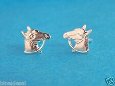 Equestrian 925 STERLING SILVER 3D HORSE HEAD STUDS EARRINGS GIFT BOX Clear Head