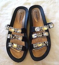 Mix & Co Womens Summer Sandals Size 8 M Black Silver Beaded Rhinestones New