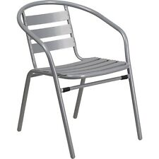 Flash Furniture Silver Metal Restaurant Stack Chair W/ Aluminum Slats NEW