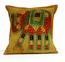 An Applique Patchwork Ethnic Indian Elephant Throw Cushion Cover