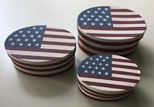Americana Flag Nested Oval Decorative Storage Set of 3 Boxes Red Beige Blue