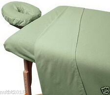 Flannel Sheet Set Sage 100% Cotton Commercial Use Massage Table Fitted Face Rest