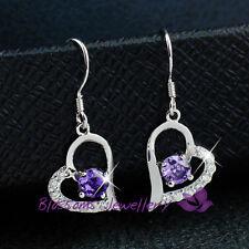 925 Sterling SILVER Amethyst Purple HEART EARRINGS SWAROVSKI Crystal S1027-E