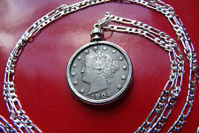 "Antique  pre 1913 Full Liberty Victory Nickel on a 30"" 925 Sterling Silver Chain"