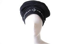 Mütze Hut aus Samt mit Fleecefutter & Pailletten in Schwarz