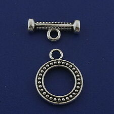 14sets Tibetan silver round toggle clasps h2991
