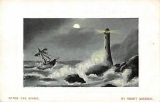 BR69886 after the storm henry whitroy ship lighthous painting postcard  uk
