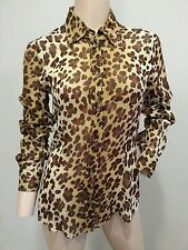 Moschino Cheap & Chic Italy Sheer Chiffon Silk Leopard Print Blouse Top 40 US 6