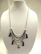 LUCKY BRAND NECKLACE, FRONTAL DRAPE SILVERTONE CHAIN NAVY BLUE BEADS TASSELS NWT