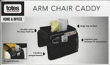 Totes Arm Chair Caddy, Black, Large Top Surface, 5  Compartments for Accessories