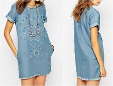 Pepe Jeans Embroidered Denim Dress With Raw Edge Detail UK L Large (ca13)