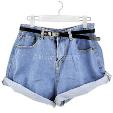 Vintage Fashion Womens High Waisted Oversize Crimping Denim Jeans Shorts Pants