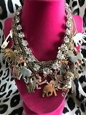 Betsey Johnson Vintage Zoo Lovers Elephant Giraffe Monkey Poodle Necklace RARE