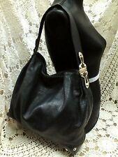 MICHAEL KORS Black Pebble Leather JOPLIN Hinged Handle Shoulder Bag BEAUTIFUL!