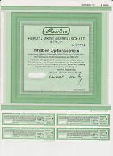 3 er SET HERLITZ INHABER-OPTIONSSCHEIN BERLIN 1989  HISTORISCH