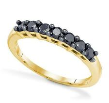 Great Look! 100% 10K Yellow Gold Black Diamond Anniversary Style Ring Band .50ct