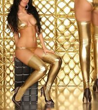 Sexy Gold PVC Wet Look Fetish Rocky Horror 77cm Length stockings, UK Seller