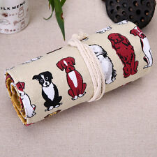 Pencil Case 48 Holders Organizer Cartoon Dogs Canvas Pen Roll Up Pouch Bag