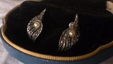 Vintage Marcasite, Pearl and Silver Clip On Earrings Lily Flower Modernist Coil