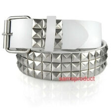 3 Row Metal Pyramid Studded Snap On Leather White Belt M 32 - 36