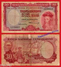 PORTUGUESE INDIA BNU 30 escudos 1959 Pick 41 BC- / G