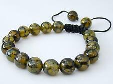 Men's Shamballa bracelet all 10mm Natural Dragon Veins Agate Beads