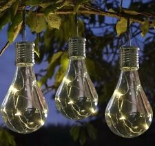 3 Solar Powered Hanging Light Bulbs Solar Garden Lights Clear Garden Patio