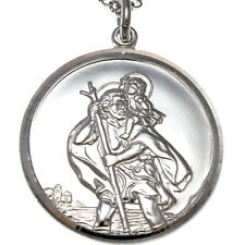 LARGE MENS SILVER ST SAINT CHRISTOPHER PENDANT CHAIN NECKLACE -  TRAVEL BACK