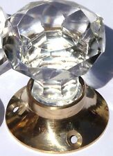 Cut glass mortice sparkling doorknobs brass base (single) vintage classic style