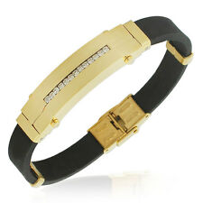 EDFORCE Stainless Steel Yellow Gold-Tone Black Rubber CZ Mens Bracelet