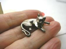 Estilo Art Deco Plata Esterlina Reclinable Gato Broche Pin