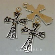 6pc Tibetan Silver CROSS Charm Bead Pendant Jewellery Making Findings   PL840