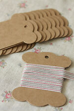 Kraft Card Bobbins 10pc blank DIY zakka thread twine spool reel ribbon organizer