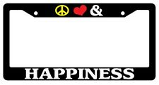 Black License Plate Frame Peace Love And Happiness Auto Accessory 826