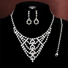 4PCS Silver Plated crystal Necklace Bracelet Earrings Ring Wedding Jewelry Set