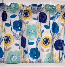 Blue Turquoise Yellow Flower Valance Window Curtain Topper Treatment
