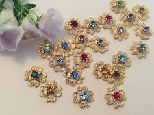 10 Vintage Filigree brass flower findings Rhinestone set 10mm Craft