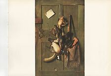 "1972 Vintage HUNTING ""CABIN DOOR STILL LIFE 1889"" HUNTER'S GEAR Color Lithograph"