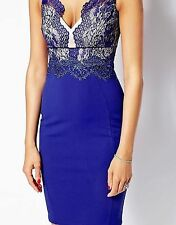 BNWT LIPSY MICHELLE KEEGAN ELECTRIC BLUE BODYCON DRESS WITH LACE DETAIL SIZE 14