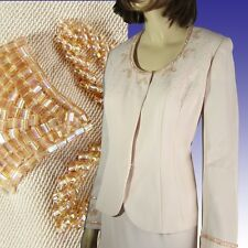 Exquisite GAZELLE CIAMPI for MAGALI Suit $360 Mother of Bride BEADED Pink 10