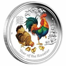 2017 Australia Lunar Year of the Rooster COLORIZED 1 oz SIlver Proof $1 Coin