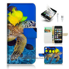 iPhone 5 5S Print Flip Wallet Case Cover! Turtle and Fish Ocean View P0398