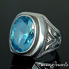 BLUE TOPAZ 14 ct UNIQUE 925 STERLING SILVER MENS RING BY KARAJEWELS