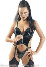Lack Strapsbody Schwarz -  Lackbody - Straps Body - Rubber Outfit - Zip  Gr S/M