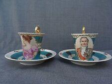 TRES JOLIE PAIRE DE TASSES A CAFE ANCIENNES PARIS N COURONNE MARECHAL & EPOUSE