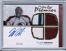 07/08 O-PEE-CHEE PREMIER TYLER WEIMAN RC QUAD JERSEY PATCH AUTO /50 COLORADO AVS
