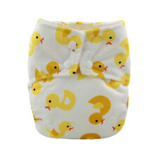 Alvababy Reusable Washable Minky Cloth Diaper AIO Nappy +1 Sewed in Insert Ducky