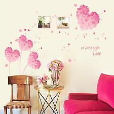 NEW Girl Pink Love Hearts Wall Sticker Decal Vinyl Art Home Decor Removeable DT