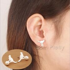 1 Pair Women New Fashion Cute Silver Cat with Ball Ear Studs Mini Cat Earrings