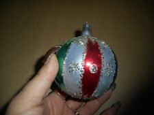 Vintage Bulb Christmas Ornament Multi Colored Hand Painted